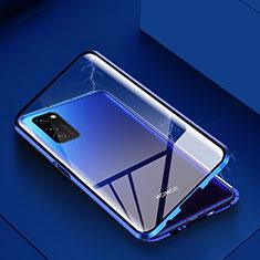 Handyhülle Hülle Luxus Aluminium Metall Rahmen Spiegel 360 Grad Tasche M02 für Huawei Honor View 30 5G Blau