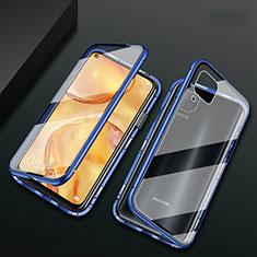Handyhülle Hülle Luxus Aluminium Metall Rahmen Spiegel 360 Grad Tasche M02 für Huawei P40 Lite Blau