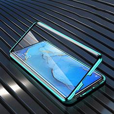 Handyhülle Hülle Luxus Aluminium Metall Rahmen Spiegel 360 Grad Tasche M02 für Oppo Reno3 Pro Grün