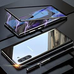 Handyhülle Hülle Luxus Aluminium Metall Rahmen Spiegel 360 Grad Tasche M02 für Samsung Galaxy Note 10 5G Schwarz