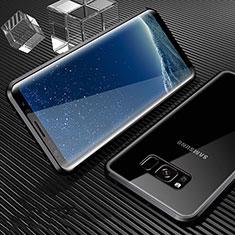 Handyhülle Hülle Luxus Aluminium Metall Rahmen Spiegel 360 Grad Tasche M02 für Samsung Galaxy S8 Schwarz
