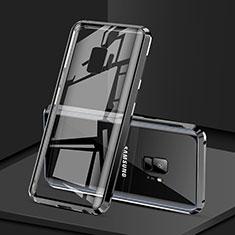 Handyhülle Hülle Luxus Aluminium Metall Rahmen Spiegel 360 Grad Tasche M02 für Samsung Galaxy S9 Schwarz