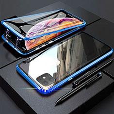 Handyhülle Hülle Luxus Aluminium Metall Rahmen Spiegel 360 Grad Tasche M03 für Apple iPhone 11 Blau