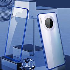 Handyhülle Hülle Luxus Aluminium Metall Rahmen Spiegel 360 Grad Tasche M03 für Huawei Mate 30 Pro Blau