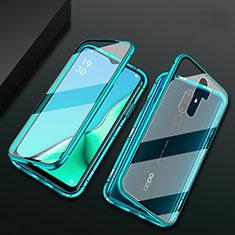 Handyhülle Hülle Luxus Aluminium Metall Rahmen Spiegel 360 Grad Tasche M03 für Oppo A11X Grün