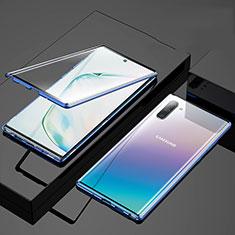 Handyhülle Hülle Luxus Aluminium Metall Rahmen Spiegel 360 Grad Tasche M03 für Samsung Galaxy Note 10 5G Blau