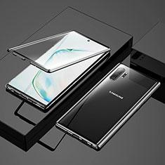Handyhülle Hülle Luxus Aluminium Metall Rahmen Spiegel 360 Grad Tasche M03 für Samsung Galaxy Note 10 Plus 5G Schwarz