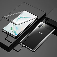 Handyhülle Hülle Luxus Aluminium Metall Rahmen Spiegel 360 Grad Tasche M03 für Samsung Galaxy Note 10 Plus Schwarz