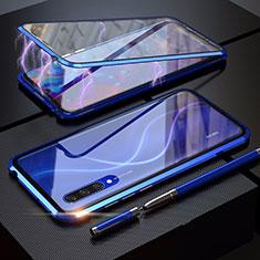 Handyhülle Hülle Luxus Aluminium Metall Rahmen Spiegel 360 Grad Tasche M03 für Xiaomi Mi A3 Blau