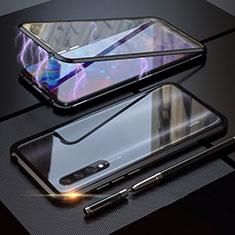 Handyhülle Hülle Luxus Aluminium Metall Rahmen Spiegel 360 Grad Tasche M03 für Xiaomi Mi A3 Schwarz