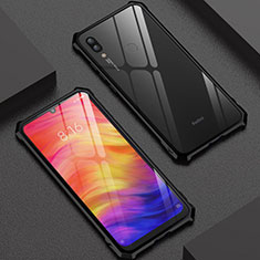 Handyhülle Hülle Luxus Aluminium Metall Rahmen Spiegel 360 Grad Tasche M03 für Xiaomi Redmi Note 7 Schwarz