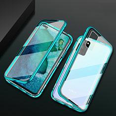 Handyhülle Hülle Luxus Aluminium Metall Rahmen Spiegel 360 Grad Tasche M04 für Huawei Honor V30 5G Grün
