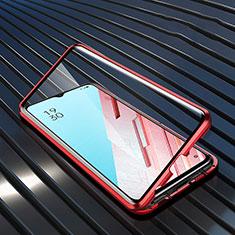 Handyhülle Hülle Luxus Aluminium Metall Rahmen Spiegel 360 Grad Tasche M04 für Oppo F15 Rot