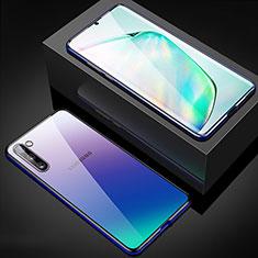 Handyhülle Hülle Luxus Aluminium Metall Rahmen Spiegel 360 Grad Tasche M04 für Samsung Galaxy Note 10 Blau