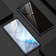 Handyhülle Hülle Luxus Aluminium Metall Rahmen Spiegel 360 Grad Tasche M04 für Samsung Galaxy Note 10 Plus Schwarz