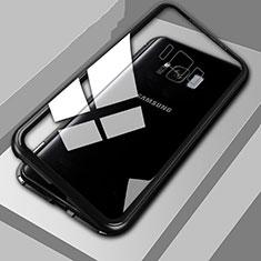 Handyhülle Hülle Luxus Aluminium Metall Rahmen Spiegel 360 Grad Tasche M04 für Samsung Galaxy S8 Plus Schwarz