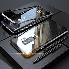 Handyhülle Hülle Luxus Aluminium Metall Rahmen Spiegel 360 Grad Tasche M04 für Samsung Galaxy S9 Plus Schwarz
