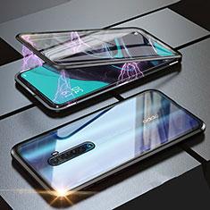Handyhülle Hülle Luxus Aluminium Metall Rahmen Spiegel 360 Grad Tasche M05 für Oppo Reno2 Schwarz