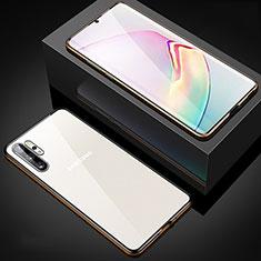Handyhülle Hülle Luxus Aluminium Metall Rahmen Spiegel 360 Grad Tasche M05 für Samsung Galaxy Note 10 Plus Gold