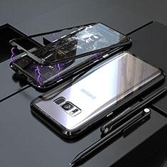 Handyhülle Hülle Luxus Aluminium Metall Rahmen Spiegel 360 Grad Tasche M05 für Samsung Galaxy S8 Plus Schwarz