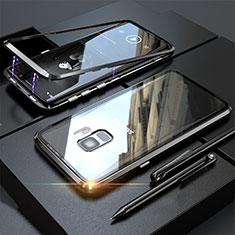 Handyhülle Hülle Luxus Aluminium Metall Rahmen Spiegel 360 Grad Tasche M05 für Samsung Galaxy S9 Schwarz
