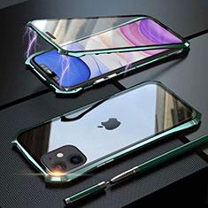 Handyhülle Hülle Luxus Aluminium Metall Rahmen Spiegel 360 Grad Tasche M06 für Apple iPhone 11 Grün