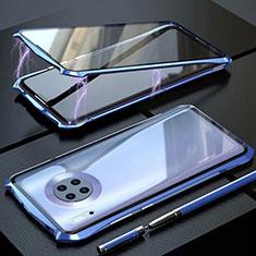Handyhülle Hülle Luxus Aluminium Metall Rahmen Spiegel 360 Grad Tasche M06 für Huawei Mate 30 Blau