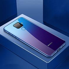 Handyhülle Hülle Luxus Aluminium Metall Rahmen Spiegel 360 Grad Tasche M06 für Huawei Mate 30 Lite Blau