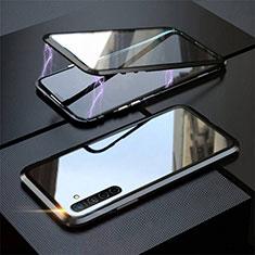 Handyhülle Hülle Luxus Aluminium Metall Rahmen Spiegel 360 Grad Tasche M06 für Realme X2 Schwarz