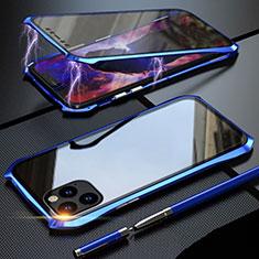Handyhülle Hülle Luxus Aluminium Metall Rahmen Spiegel 360 Grad Tasche M07 für Apple iPhone 11 Pro Max Blau