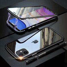 Handyhülle Hülle Luxus Aluminium Metall Rahmen Spiegel 360 Grad Tasche M07 für Apple iPhone 11 Schwarz