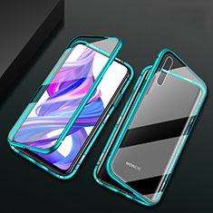 Handyhülle Hülle Luxus Aluminium Metall Rahmen Spiegel 360 Grad Tasche M07 für Huawei Honor 9X Pro Grün