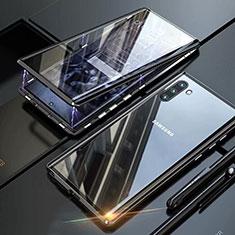 Handyhülle Hülle Luxus Aluminium Metall Rahmen Spiegel 360 Grad Tasche M07 für Samsung Galaxy Note 10 Schwarz