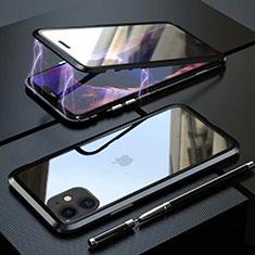 Handyhülle Hülle Luxus Aluminium Metall Rahmen Spiegel 360 Grad Tasche M08 für Apple iPhone 11 Schwarz