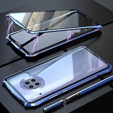 Handyhülle Hülle Luxus Aluminium Metall Rahmen Spiegel 360 Grad Tasche M08 für Huawei Mate 30 Blau