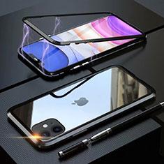 Handyhülle Hülle Luxus Aluminium Metall Rahmen Spiegel 360 Grad Tasche M09 für Apple iPhone 11 Schwarz