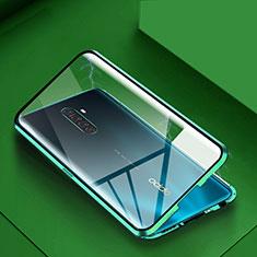 Handyhülle Hülle Luxus Aluminium Metall Rahmen Spiegel 360 Grad Tasche M09 für Oppo Reno Ace Grün