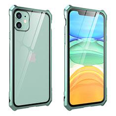 Handyhülle Hülle Luxus Aluminium Metall Rahmen Spiegel 360 Grad Tasche M10 für Apple iPhone 11 Grün