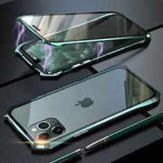 Handyhülle Hülle Luxus Aluminium Metall Rahmen Spiegel 360 Grad Tasche M10 für Apple iPhone 11 Pro Grün