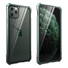 Handyhülle Hülle Luxus Aluminium Metall Rahmen Spiegel 360 Grad Tasche M15 für Apple iPhone 11 Pro Max Grün