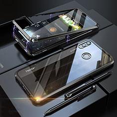 Handyhülle Hülle Luxus Aluminium Metall Rahmen Spiegel 360 Grad Tasche P01 für Huawei Honor 8X Schwarz
