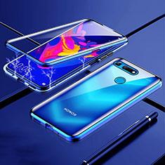 Handyhülle Hülle Luxus Aluminium Metall Rahmen Spiegel 360 Grad Tasche T01 für Huawei Honor V20 Blau