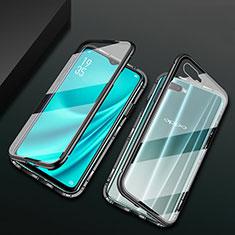 Handyhülle Hülle Luxus Aluminium Metall Rahmen Spiegel 360 Grad Tasche T01 für Oppo R15X Schwarz