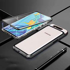 Handyhülle Hülle Luxus Aluminium Metall Rahmen Spiegel 360 Grad Tasche T01 für Samsung Galaxy A80 Schwarz