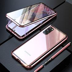 Handyhülle Hülle Luxus Aluminium Metall Rahmen Spiegel 360 Grad Tasche T01 für Samsung Galaxy S20 5G Rosegold