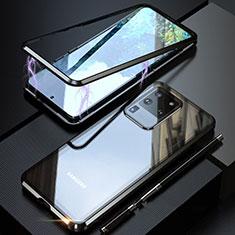Handyhülle Hülle Luxus Aluminium Metall Rahmen Spiegel 360 Grad Tasche T01 für Samsung Galaxy S20 Ultra 5G Schwarz