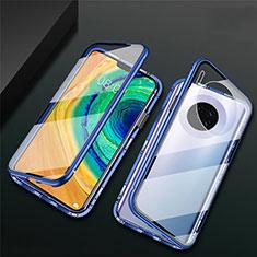 Handyhülle Hülle Luxus Aluminium Metall Rahmen Spiegel 360 Grad Tasche T02 für Huawei Mate 30 Blau
