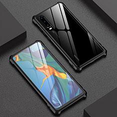 Handyhülle Hülle Luxus Aluminium Metall Rahmen Spiegel 360 Grad Tasche T02 für Huawei P30 Schwarz