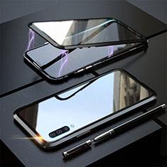 Handyhülle Hülle Luxus Aluminium Metall Rahmen Spiegel 360 Grad Tasche T02 für Samsung Galaxy A70 Schwarz
