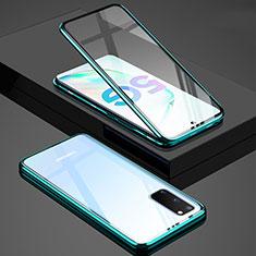 Handyhülle Hülle Luxus Aluminium Metall Rahmen Spiegel 360 Grad Tasche T02 für Samsung Galaxy S20 5G Grün